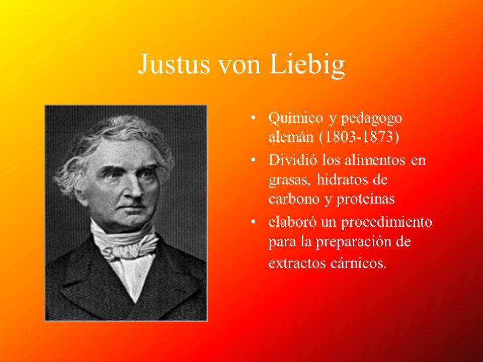 Justus von Liebig Químico y pedagogo alemán (1803-1873) Dividió los alimentos en grasas, hidratos de carbono y proteínas elaboró un procedimiento para