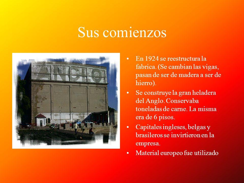 Sus comienzos En 1924 se reestructura la fabrica. (Se cambian las vigas, pasan de ser de madera a ser de hierro). Se construye la gran heladera del An