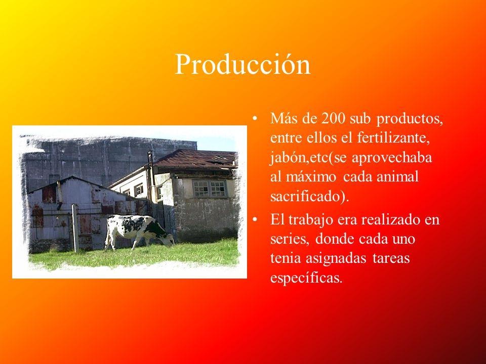 Producción Más de 200 sub productos, entre ellos el fertilizante, jabón,etc(se aprovechaba al máximo cada animal sacrificado). El trabajo era realizad