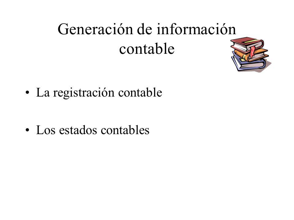 Generación de información contable La registración contable Los estados contables