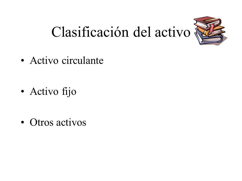 Clasificación del activo Activo circulante Activo fijo Otros activos