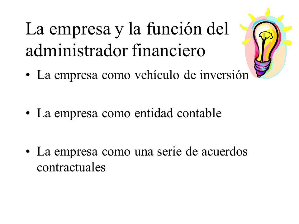 La empresa y la función del administrador financiero La empresa como vehículo de inversión La empresa como entidad contable La empresa como una serie