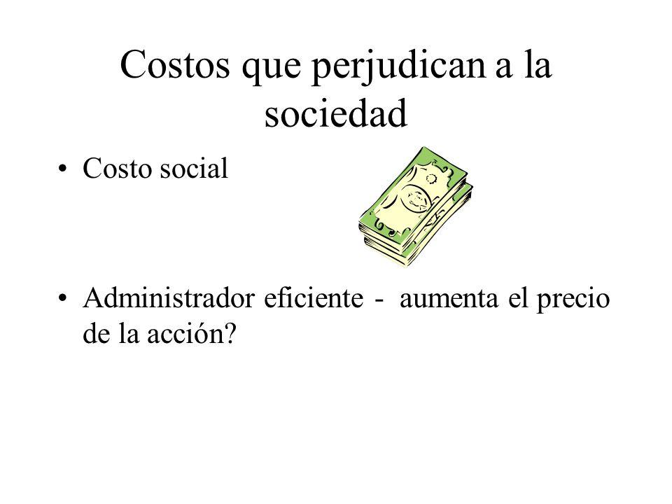 Costos que perjudican a la sociedad Costo social Administrador eficiente - aumenta el precio de la acción?