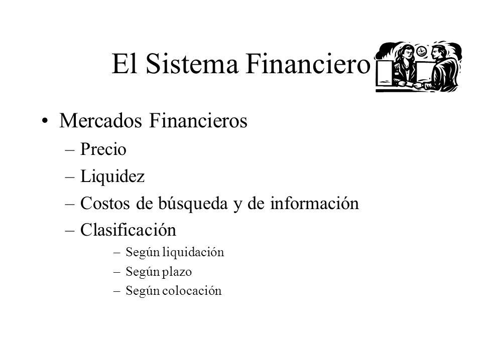 El Sistema Financiero Mercados Financieros –Precio –Liquidez –Costos de búsqueda y de información –Clasificación –Según liquidación –Según plazo –Segú