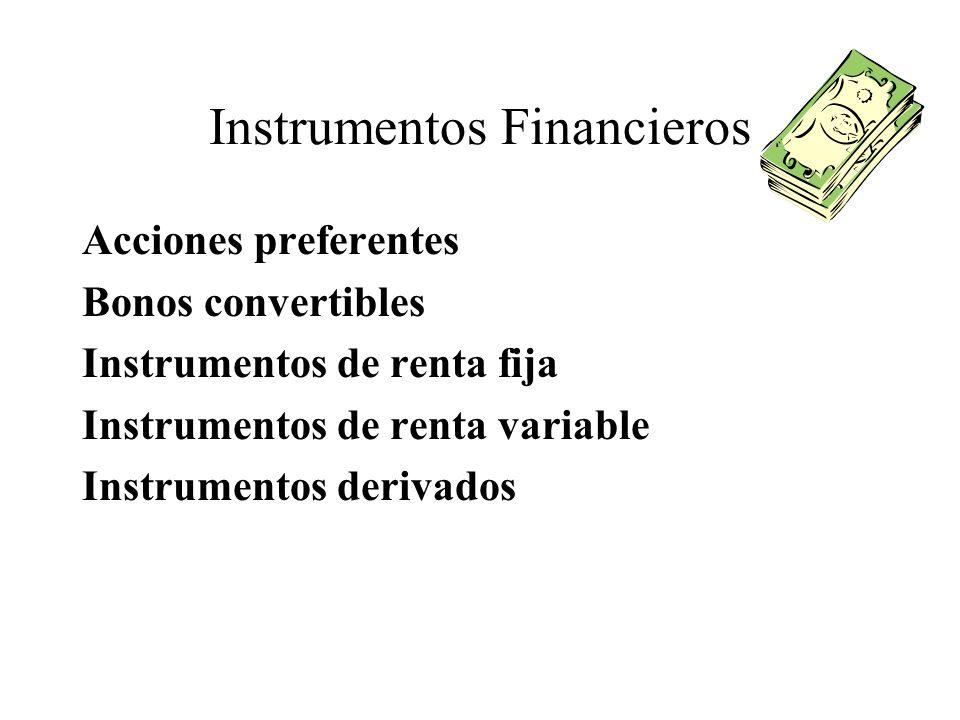 Instrumentos Financieros Acciones preferentes Bonos convertibles Instrumentos de renta fija Instrumentos de renta variable Instrumentos derivados