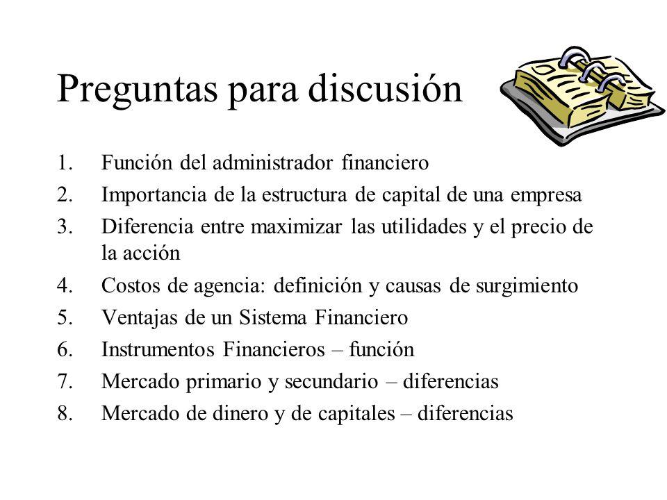 Preguntas para discusión 1.Función del administrador financiero 2.Importancia de la estructura de capital de una empresa 3.Diferencia entre maximizar