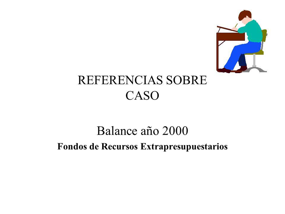 REFERENCIAS SOBRE CASO Balance año 2000 Fondos de Recursos Extrapresupuestarios