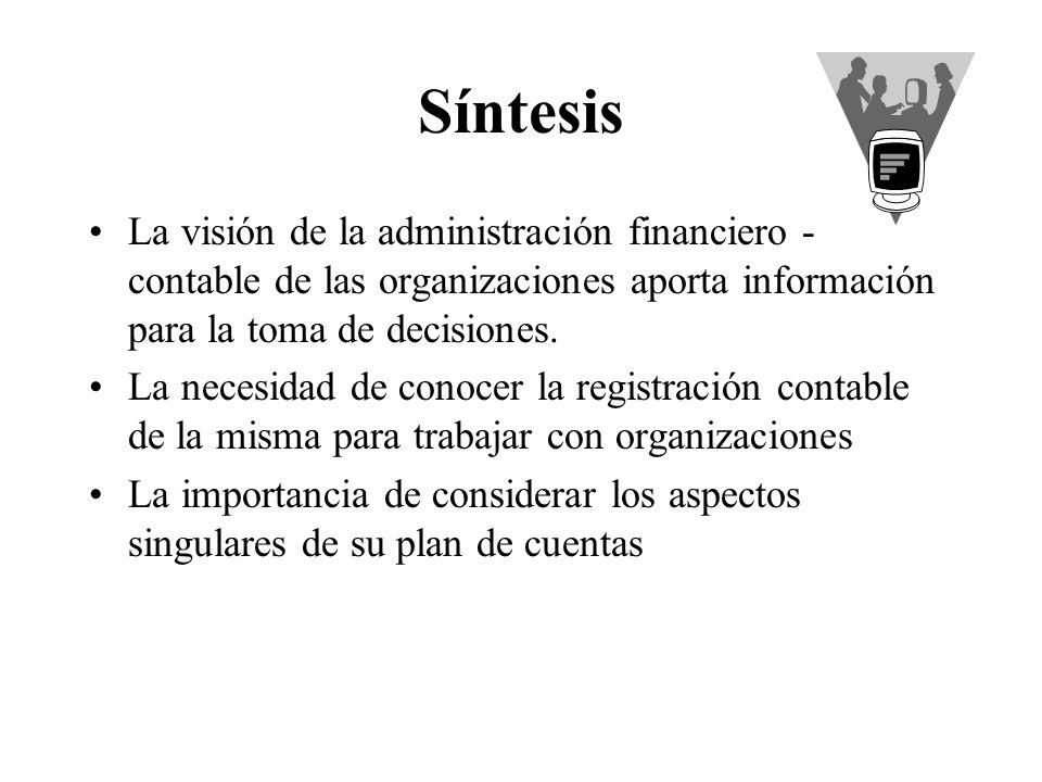 Síntesis La visión de la administración financiero - contable de las organizaciones aporta información para la toma de decisiones. La necesidad de con