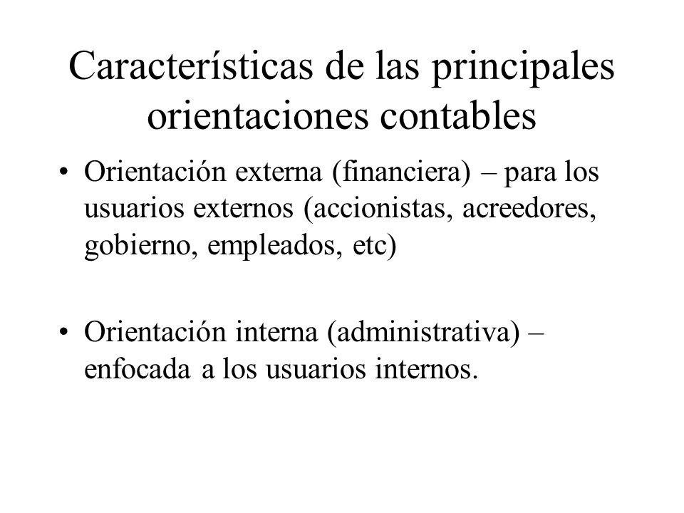 Características de las principales orientaciones contables Orientación externa (financiera) – para los usuarios externos (accionistas, acreedores, gob