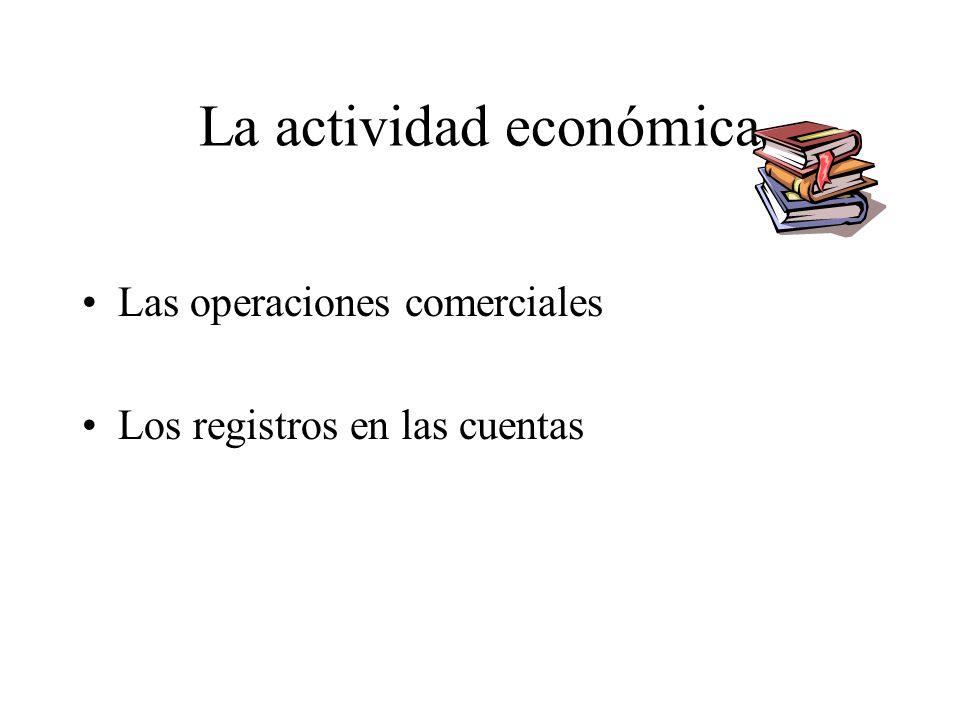 La actividad económica Las operaciones comerciales Los registros en las cuentas