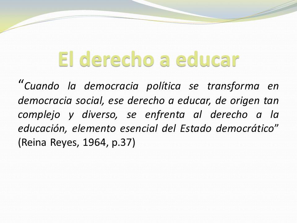 El derecho a educar Cuando la democracia política se transforma en democracia social, ese derecho a educar, de origen tan complejo y diverso, se enfrenta al derecho a la educación, elemento esencial del Estado democrático (Reina Reyes, 1964, p.37)