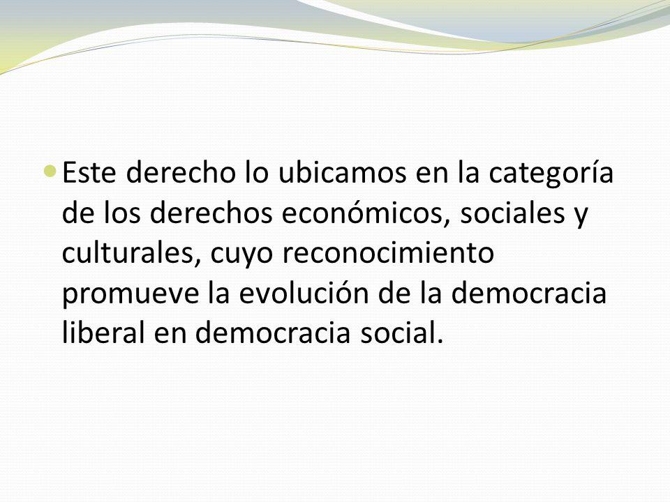 Este derecho lo ubicamos en la categoría de los derechos económicos, sociales y culturales, cuyo reconocimiento promueve la evolución de la democracia