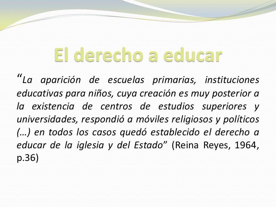 El derecho a educar La aparición de escuelas primarias, instituciones educativas para niños, cuya creación es muy posterior a la existencia de centros