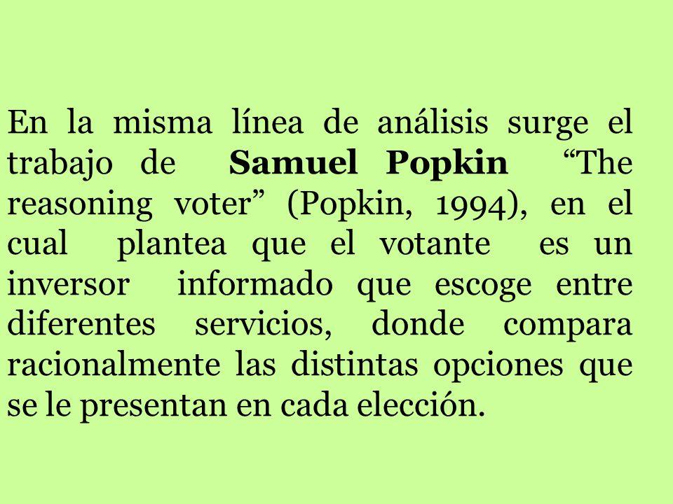 Otra forma alternativa de decisión racional es el llamado voto retrospectivo planeado por Fiorina. Retrospective voting in american presidential elect