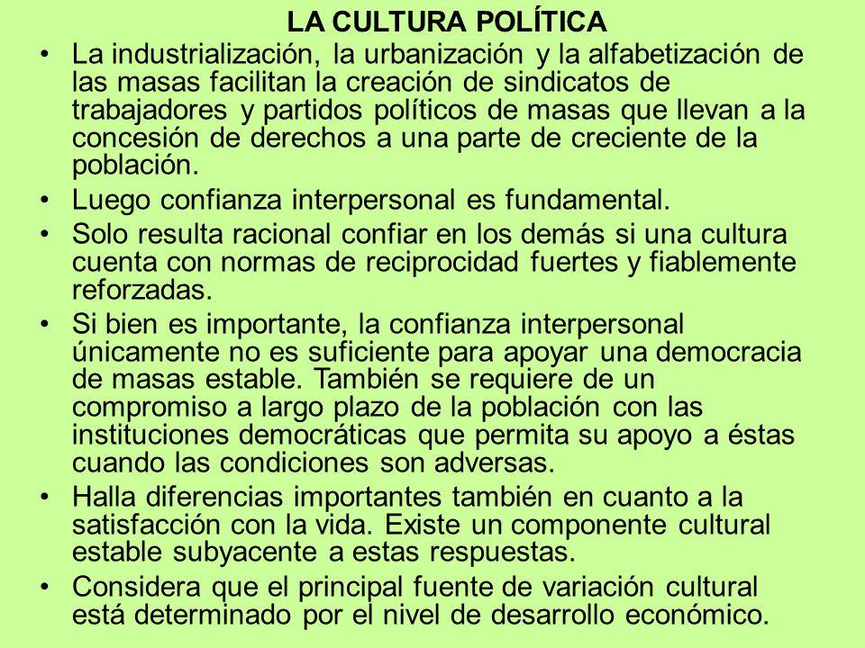 LA CULTURA POLÍTICA Define a la cultura como un sistema de actitudes, valores y conocimientos ampliamente compartidos en el seno de una sociedad trasm