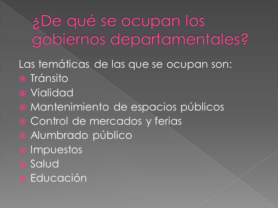Las temáticas de las que se ocupan son: Tránsito Vialidad Mantenimiento de espacios públicos Control de mercados y ferias Alumbrado público Impuestos Salud Educación