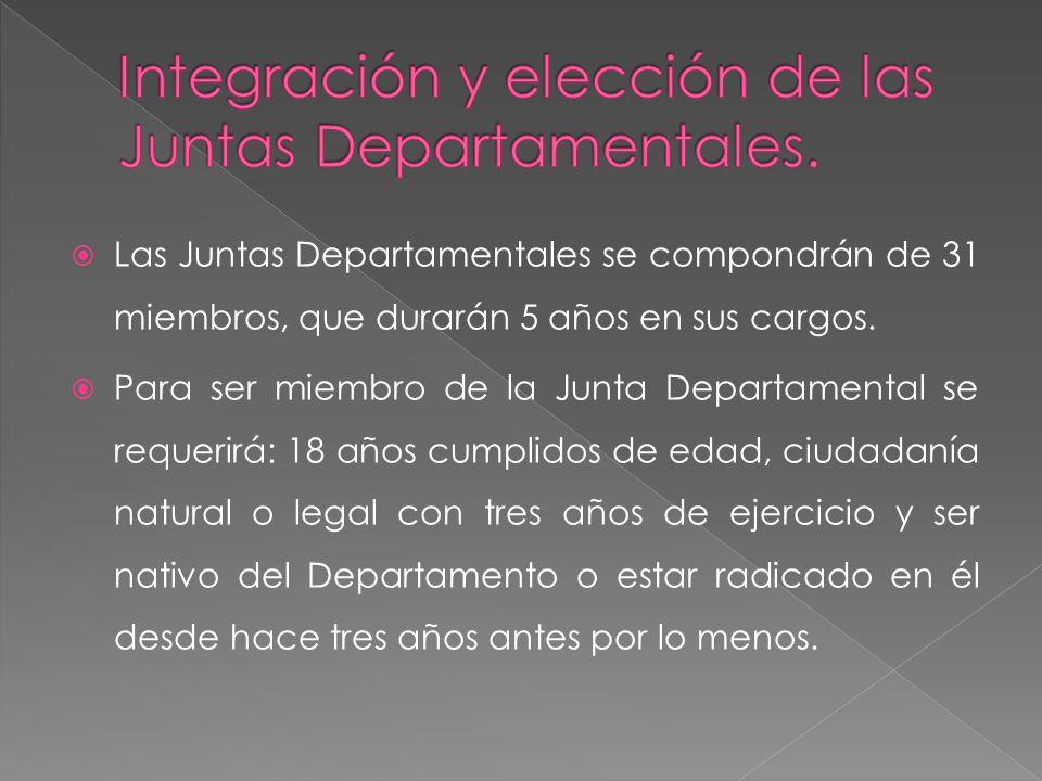 Las Juntas Departamentales se compondrán de 31 miembros, que durarán 5 años en sus cargos. Para ser miembro de la Junta Departamental se requerirá: 18