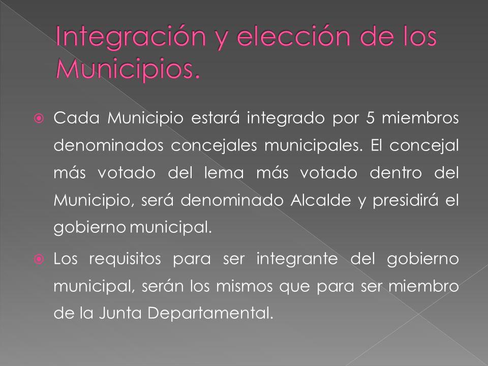 Cada Municipio estará integrado por 5 miembros denominados concejales municipales. El concejal más votado del lema más votado dentro del Municipio, se
