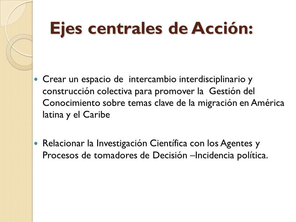 Ejes centrales de Acción: Crear un espacio de intercambio interdisciplinario y construcción colectiva para promover la Gestión del Conocimiento sobre temas clave de la migración en América latina y el Caribe Relacionar la Investigación Científica con los Agentes y Procesos de tomadores de Decisión –Incidencia política.