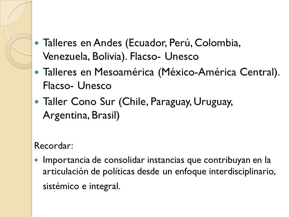 Talleres en Andes (Ecuador, Perú, Colombia, Venezuela, Bolivia).