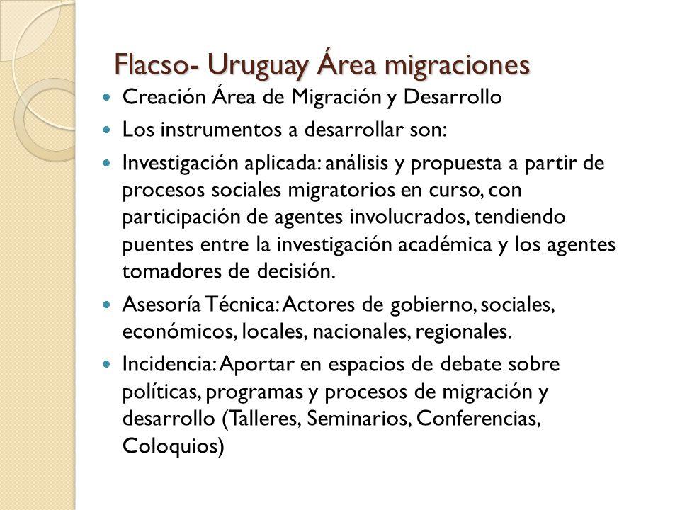 Flacso- Uruguay Área migraciones Creación Área de Migración y Desarrollo Los instrumentos a desarrollar son: Investigación aplicada: análisis y propuesta a partir de procesos sociales migratorios en curso, con participación de agentes involucrados, tendiendo puentes entre la investigación académica y los agentes tomadores de decisión.