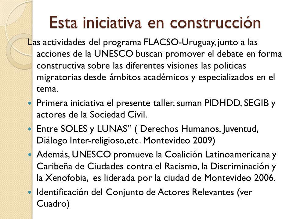 Esta iniciativa en construcción Las actividades del programa FLACSO-Uruguay, junto a las acciones de la UNESCO buscan promover el debate en forma constructiva sobre las diferentes visiones las políticas migratorias desde ámbitos académicos y especializados en el tema.