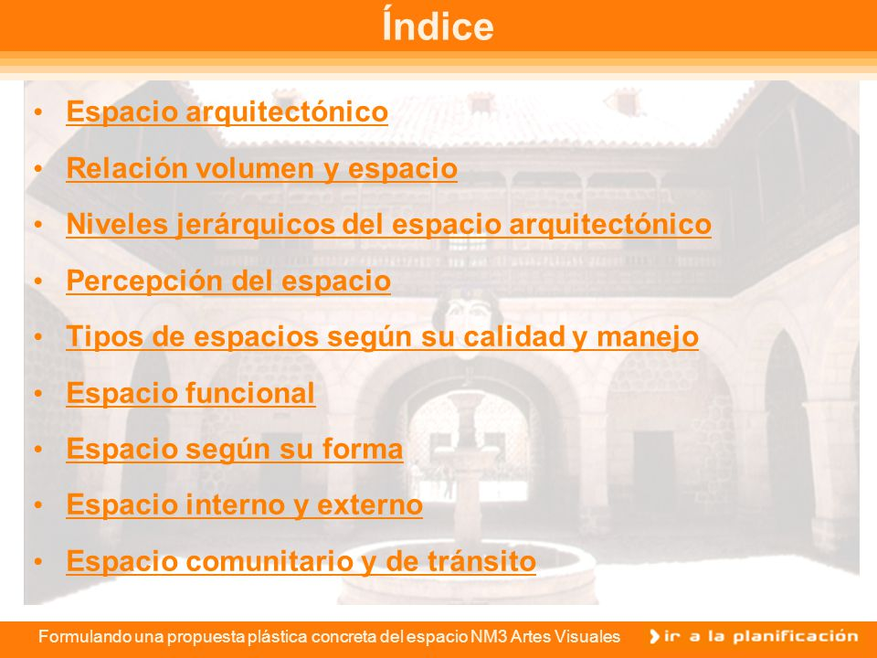 Formulando una propuesta plástica concreta del espacio NM3 Artes Visuales Fuentes utilizadas para esta presentación http://www.arquitectuba.com.ar/textos/Espacio%20Arquitectonico.pdf http://www.portaldearte.cl/educacion/8to_basico/def_arquitectura.htm