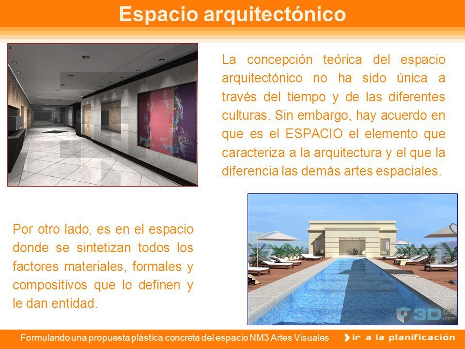 Formulando una propuesta plástica concreta del espacio NM3 Artes Visuales Espacio arquitectónico La concepción teórica del espacio arquitectónico no ha sido única a través del tiempo y de las diferentes culturas.
