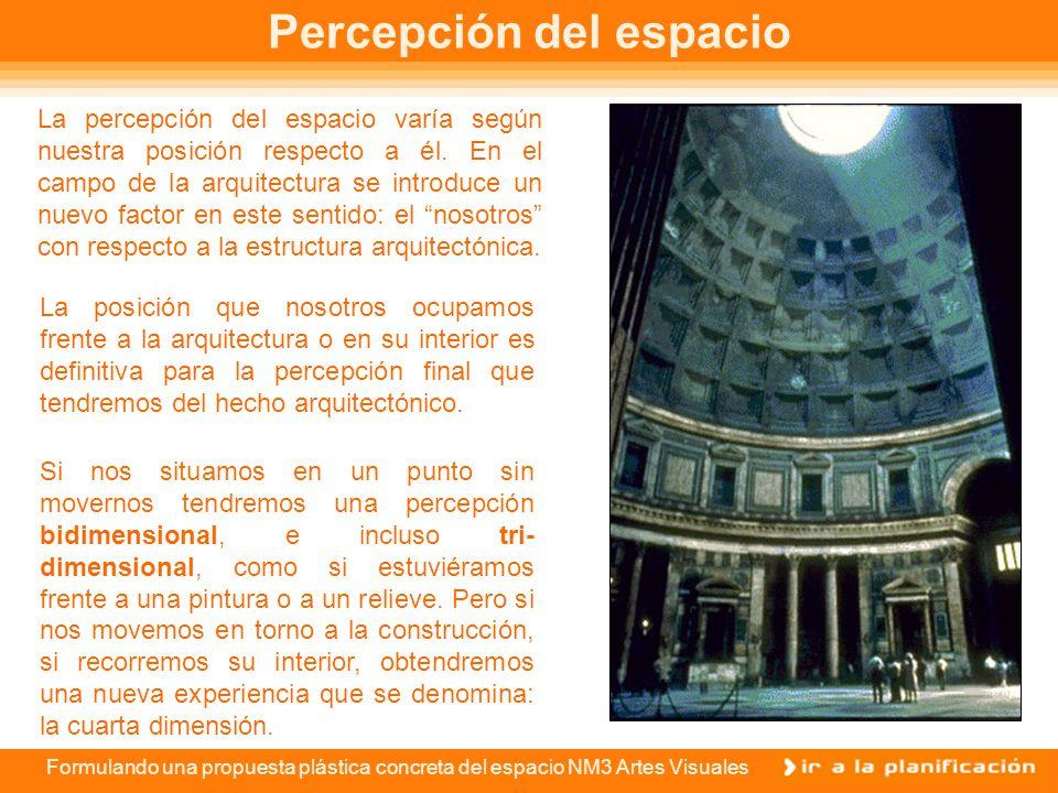 Formulando una propuesta plástica concreta del espacio NM3 Artes Visuales Percepción del espacio La posición que nosotros ocupamos frente a la arquitectura o en su interior es definitiva para la percepción final que tendremos del hecho arquitectónico.