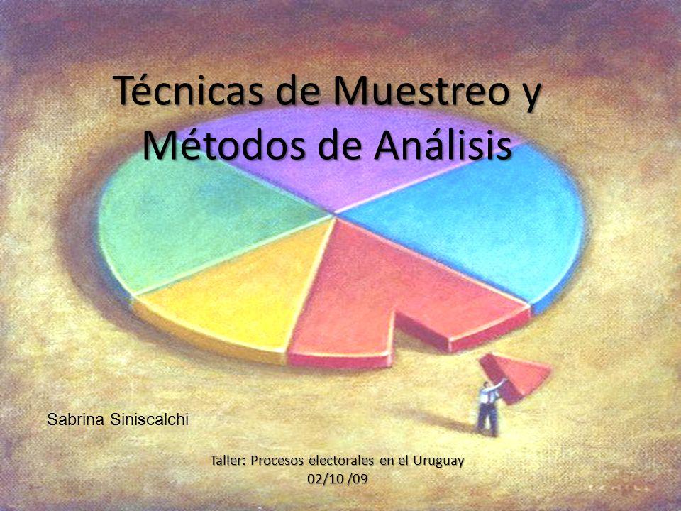 Técnicas de Muestreo y Métodos de Análisis Taller: Procesos electorales en el Uruguay 02/10 /09 Sabrina Siniscalchi
