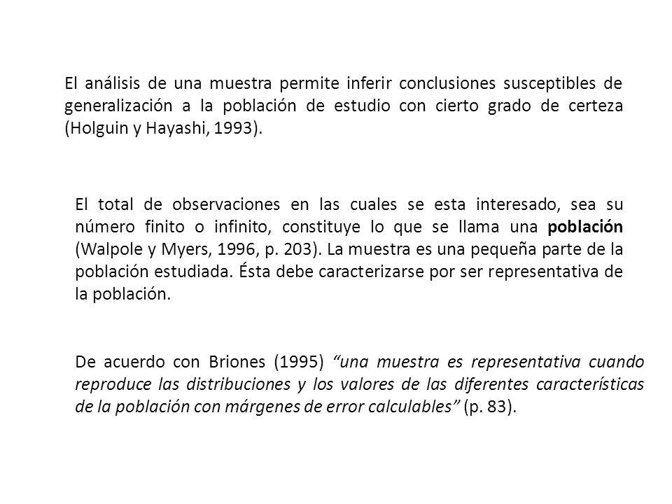 El análisis de una muestra permite inferir conclusiones susceptibles de generalización a la población de estudio con cierto grado de certeza (Holguin y Hayashi, 1993).