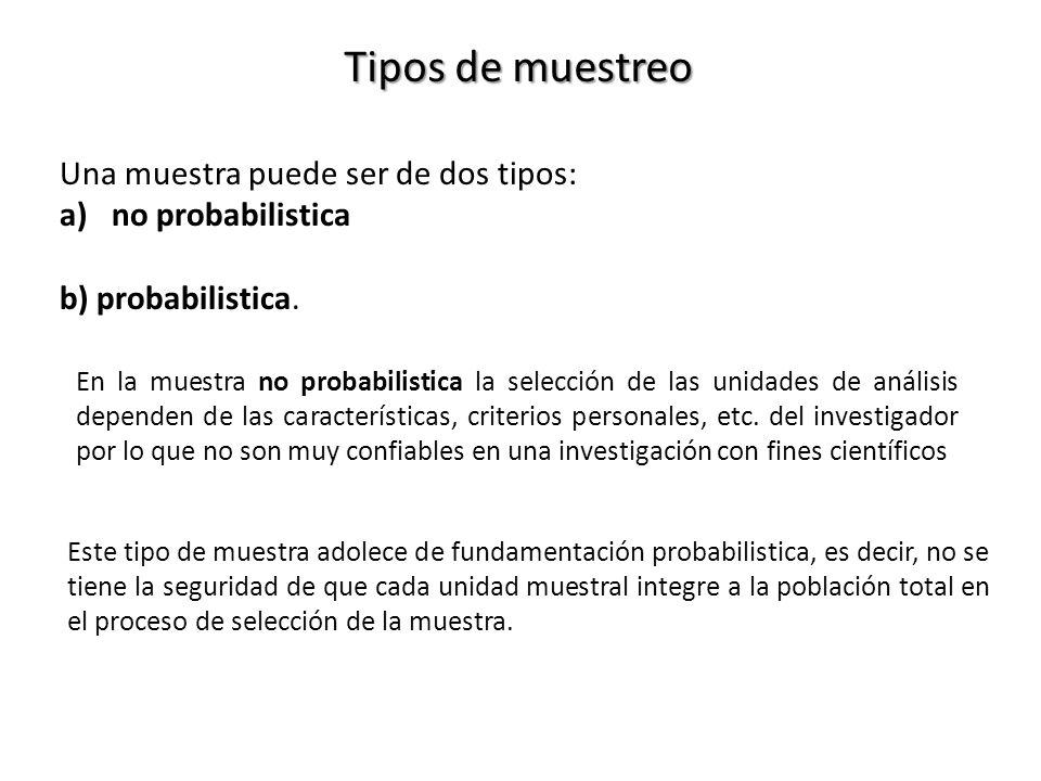 Tipos de muestreo Una muestra puede ser de dos tipos: a)no probabilistica b) probabilistica.