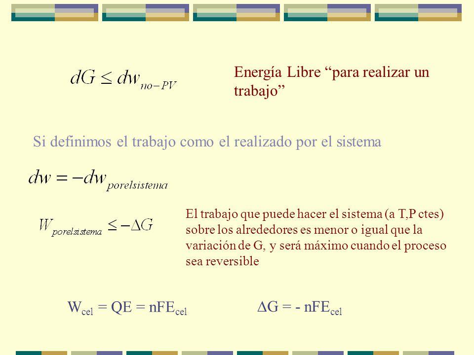 Si el sistema cerrado, puede llevar a cabo W que no sea P-V (-)(+) W cel = QE = nFE cel Si P y T son constantes