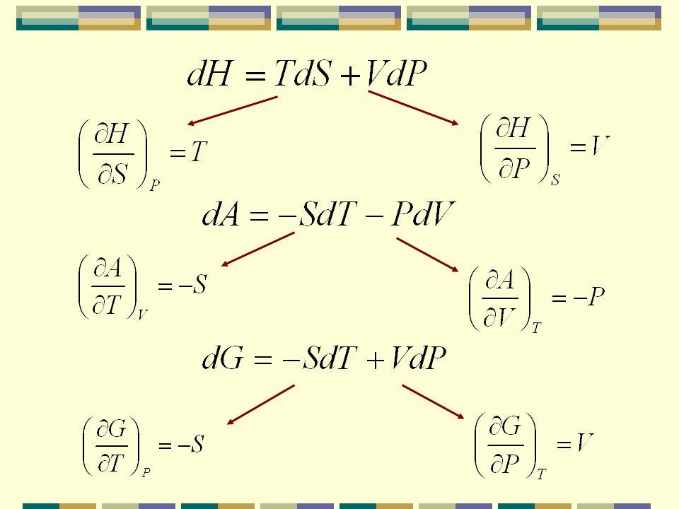 A partir de estas ecuaciones se pueden obtener las relaciones entre las distintas propiedades termodinámicas que no son fácilmente medibles Ejemplo