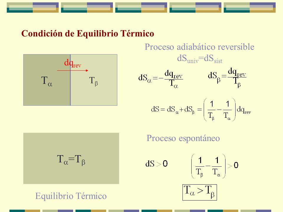 Condición de equilibrio material Cuando el sistema alcanza el equilibrio material no hay cambio macroscópico en la composición a lo largo del tiempo,