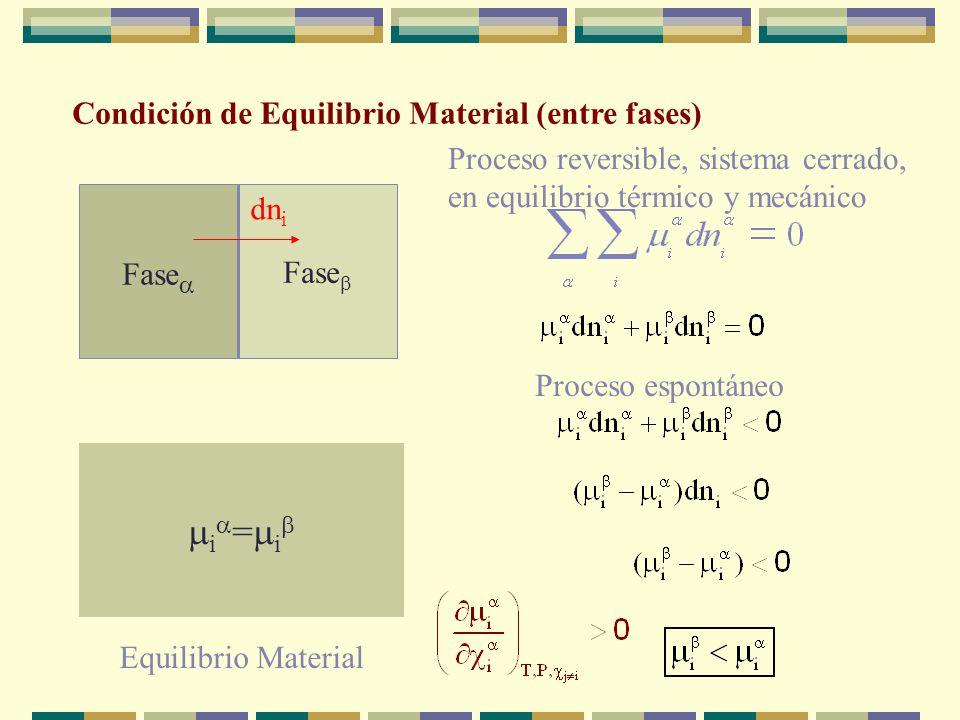 Condición de Equilibrio Mecánico P P Proceso reversible, sistema cerrado, T constante y V total constante dA = -PdV-SdT = -PdV Proceso espontáneo dV P