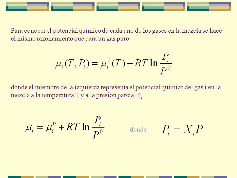 POTENCIAL QUÍMICO DE UNA MEZCLA DE GASES IDEALES ¿cuáles son las propiedades de una mezcla de gases ideales? Cuando la mezcla de gases se realiza mezc