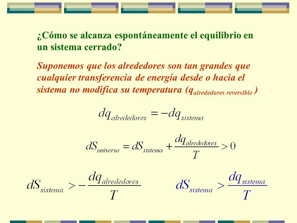 Primer y Segundo Principio de la Termodinámica La energía del universo se conserva La entropía del universo aumenta en procesos espontáneos Condición