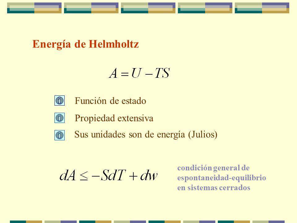 Energía de Helmholtz Función de estado Propiedad extensiva Sus unidades son de energía (Julios) condición general de espontaneidad-equilibrio en sistemas cerrados