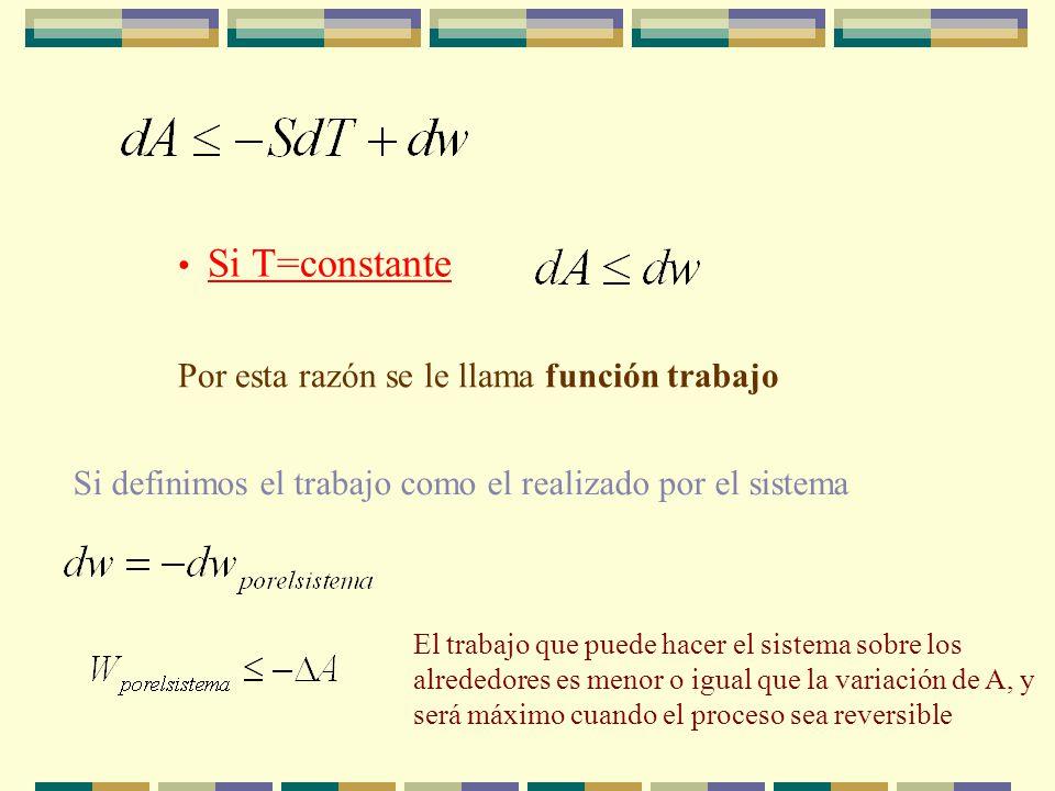Si T=constante Por esta razón se le llama función trabajo Si definimos el trabajo como el realizado por el sistema El trabajo que puede hacer el sistema sobre los alrededores es menor o igual que la variación de A, y será máximo cuando el proceso sea reversible
