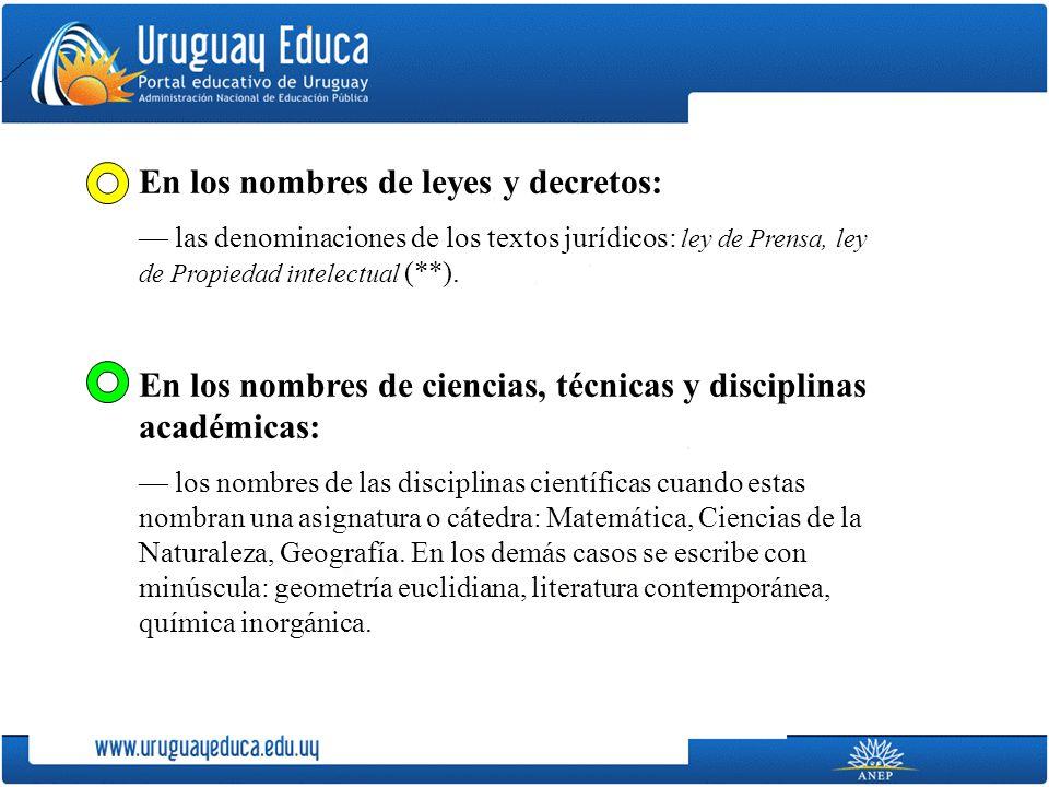 En los nombres de leyes y decretos: las denominaciones de los textos jurídicos: ley de Prensa, ley de Propiedad intelectual (**). En los nombres de ci