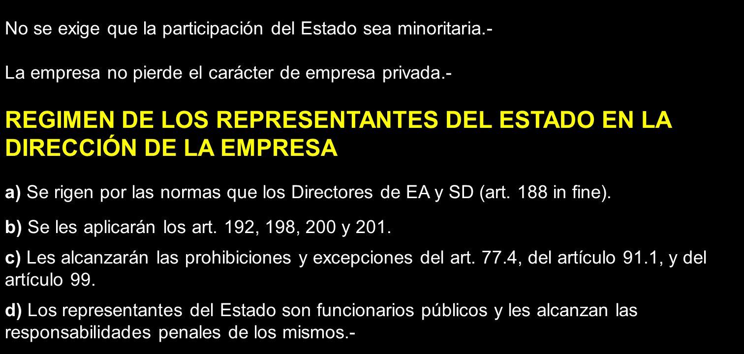 No se exige que la participación del Estado sea minoritaria.- La empresa no pierde el carácter de empresa privada.- REGIMEN DE LOS REPRESENTANTES DEL
