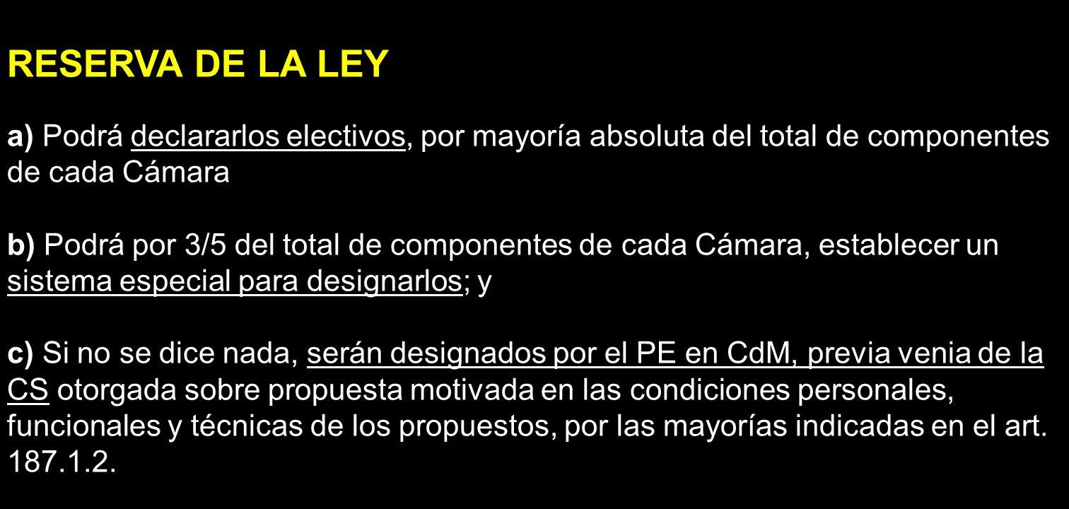 RESERVA DE LA LEY a) Podrá declararlos electivos, por mayoría absoluta del total de componentes de cada Cámara b) Podrá por 3/5 del total de component