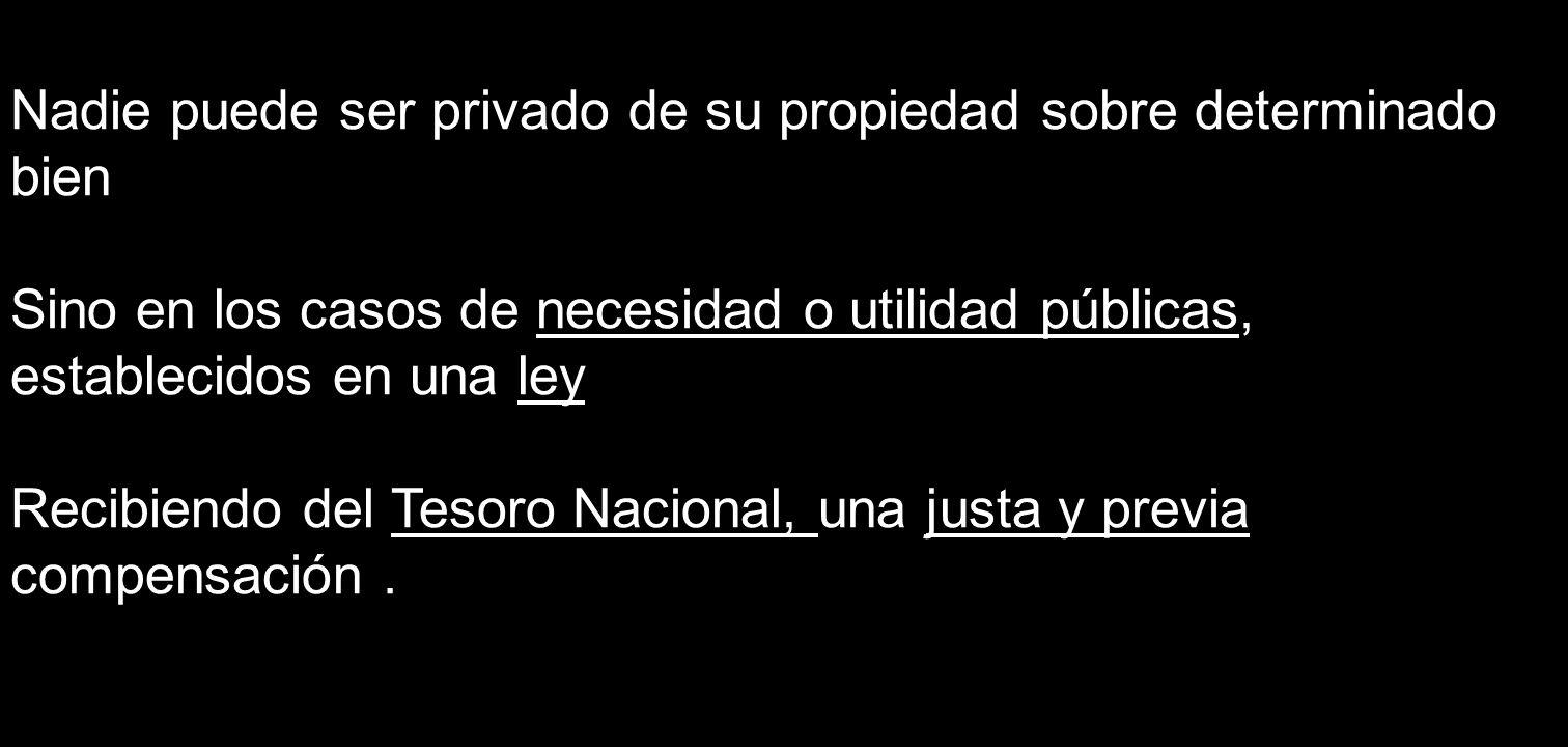 Nadie puede ser privado de su propiedad sobre determinado bien Sino en los casos de necesidad o utilidad públicas, establecidos en una ley Recibiendo