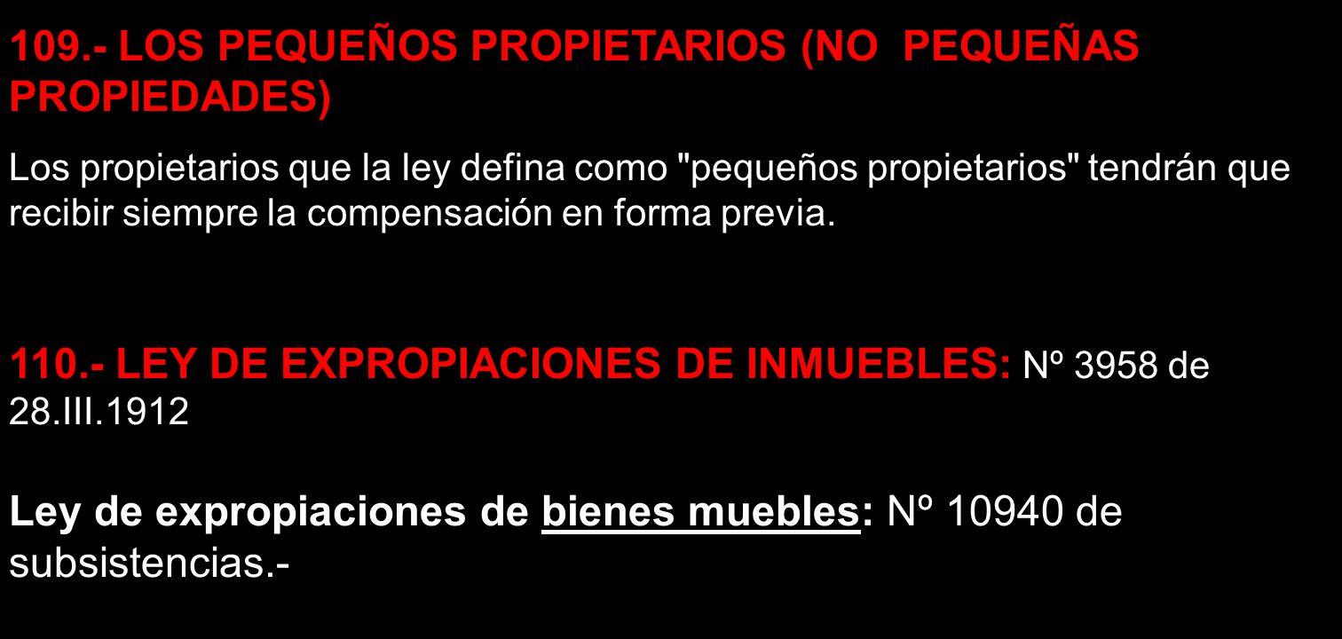 109.- LOS PEQUEÑOS PROPIETARIOS (NO PEQUEÑAS PROPIEDADES) Los propietarios que la ley defina como