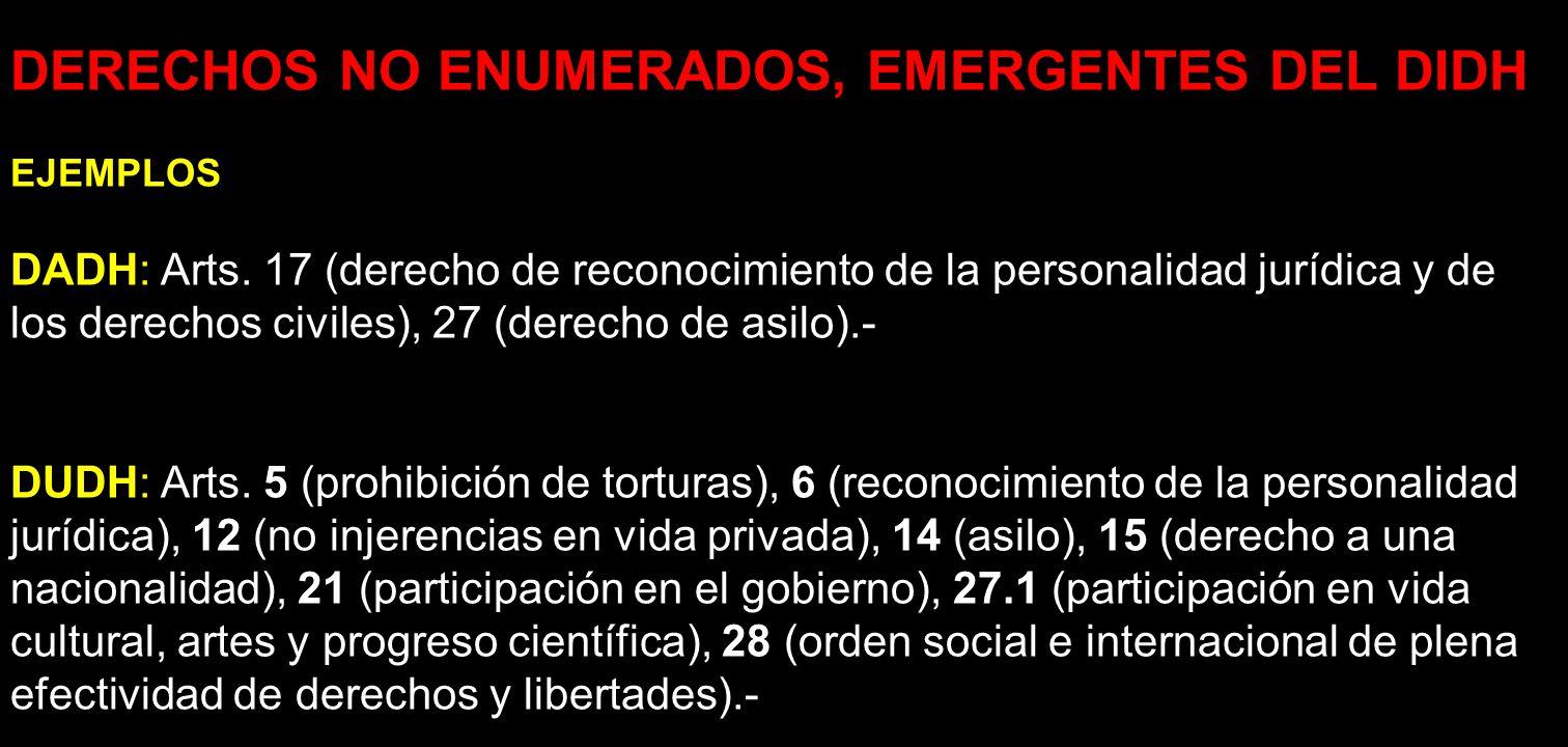 DERECHOS NO ENUMERADOS, EMERGENTES DEL DIDH EJEMPLOS DADH: Arts. 17 (derecho de reconocimiento de la personalidad jurídica y de los derechos civiles),