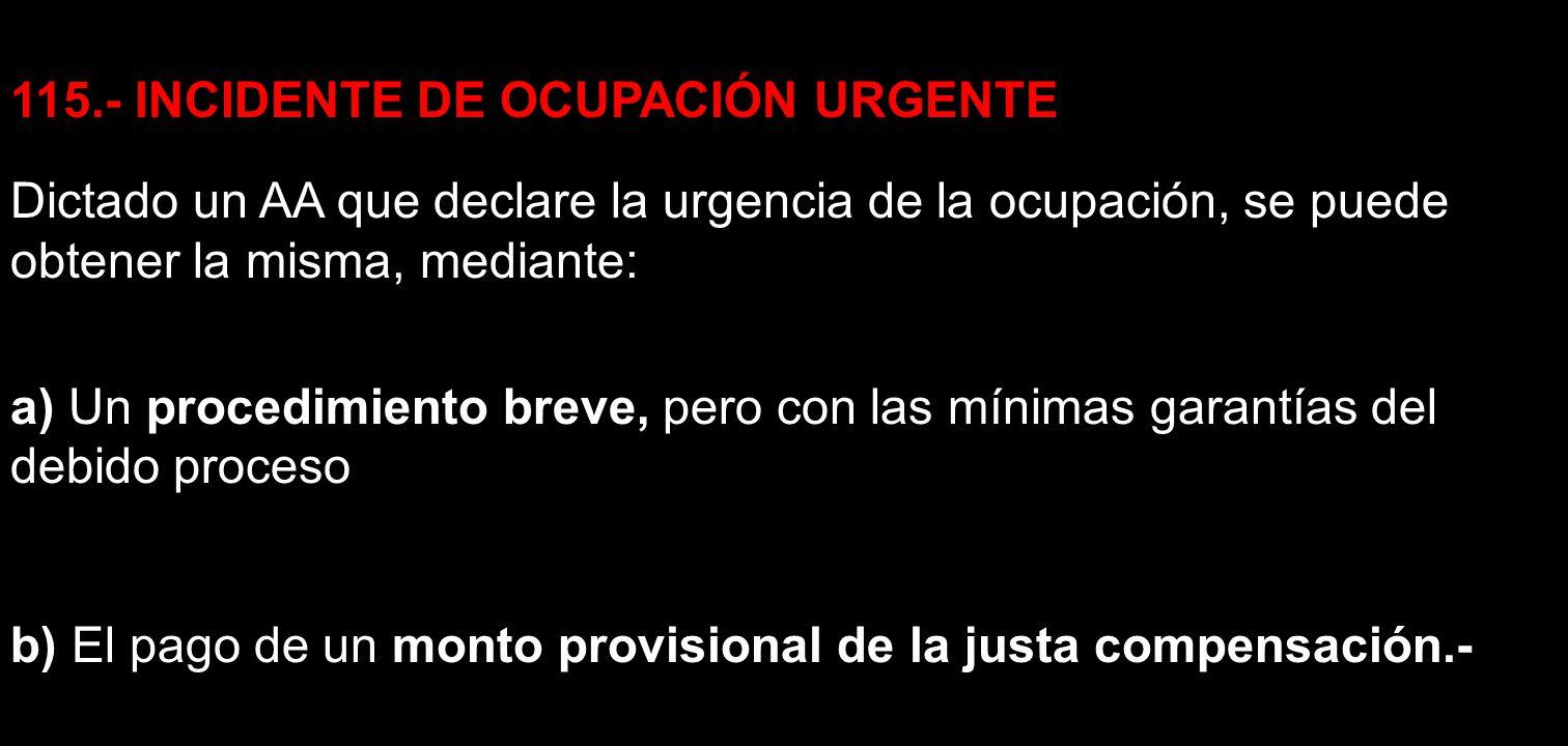 115.- INCIDENTE DE OCUPACIÓN URGENTE Dictado un AA que declare la urgencia de la ocupación, se puede obtener la misma, mediante: a) Un procedimiento b