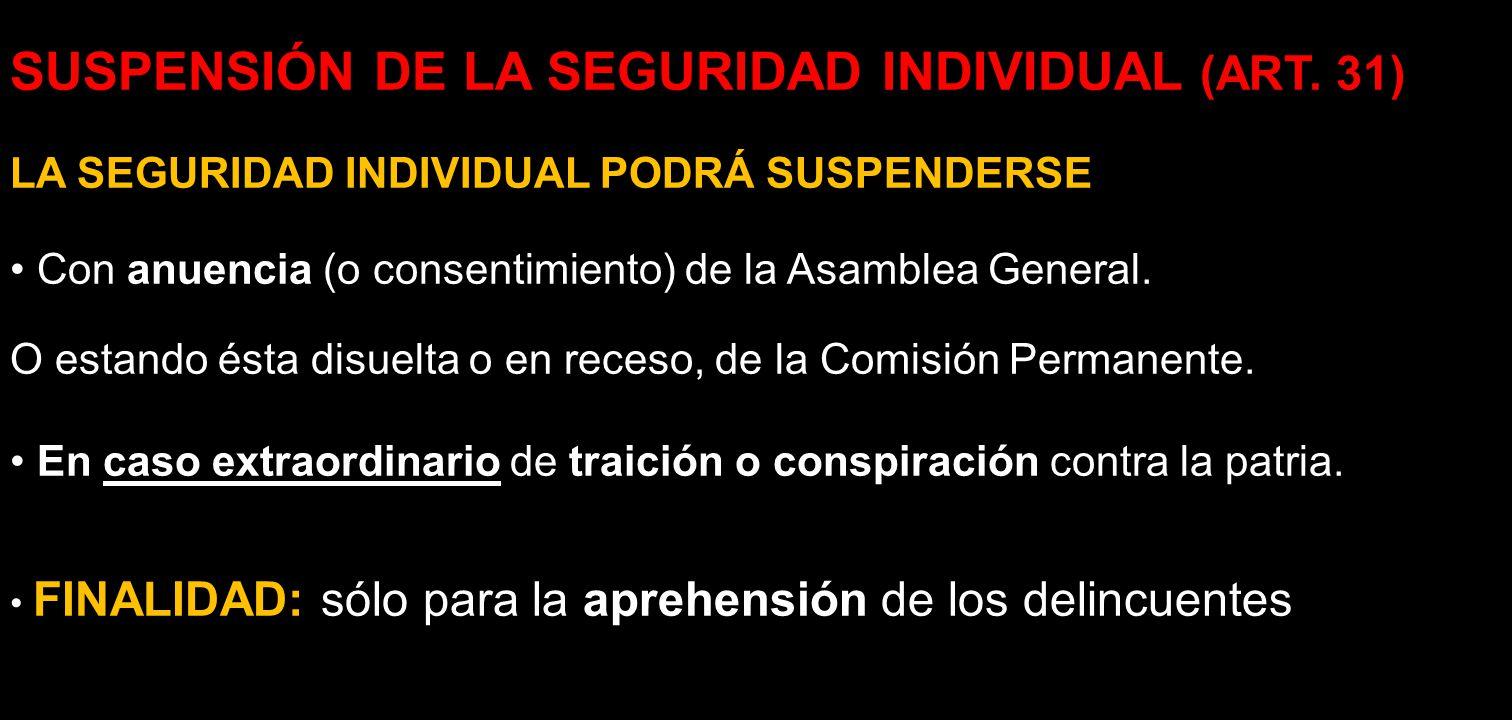 SUSPENSIÓN DE LA SEGURIDAD INDIVIDUAL (ART. 31) LA SEGURIDAD INDIVIDUAL PODRÁ SUSPENDERSE Con anuencia (o consentimiento) de la Asamblea General. O es