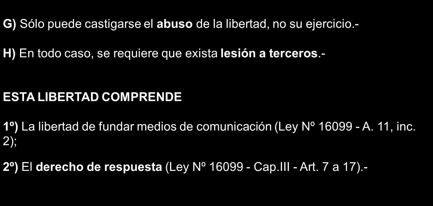 G) Sólo puede castigarse el abuso de la libertad, no su ejercicio.- H) En todo caso, se requiere que exista lesión a terceros.- ESTA LIBERTAD COMPREND