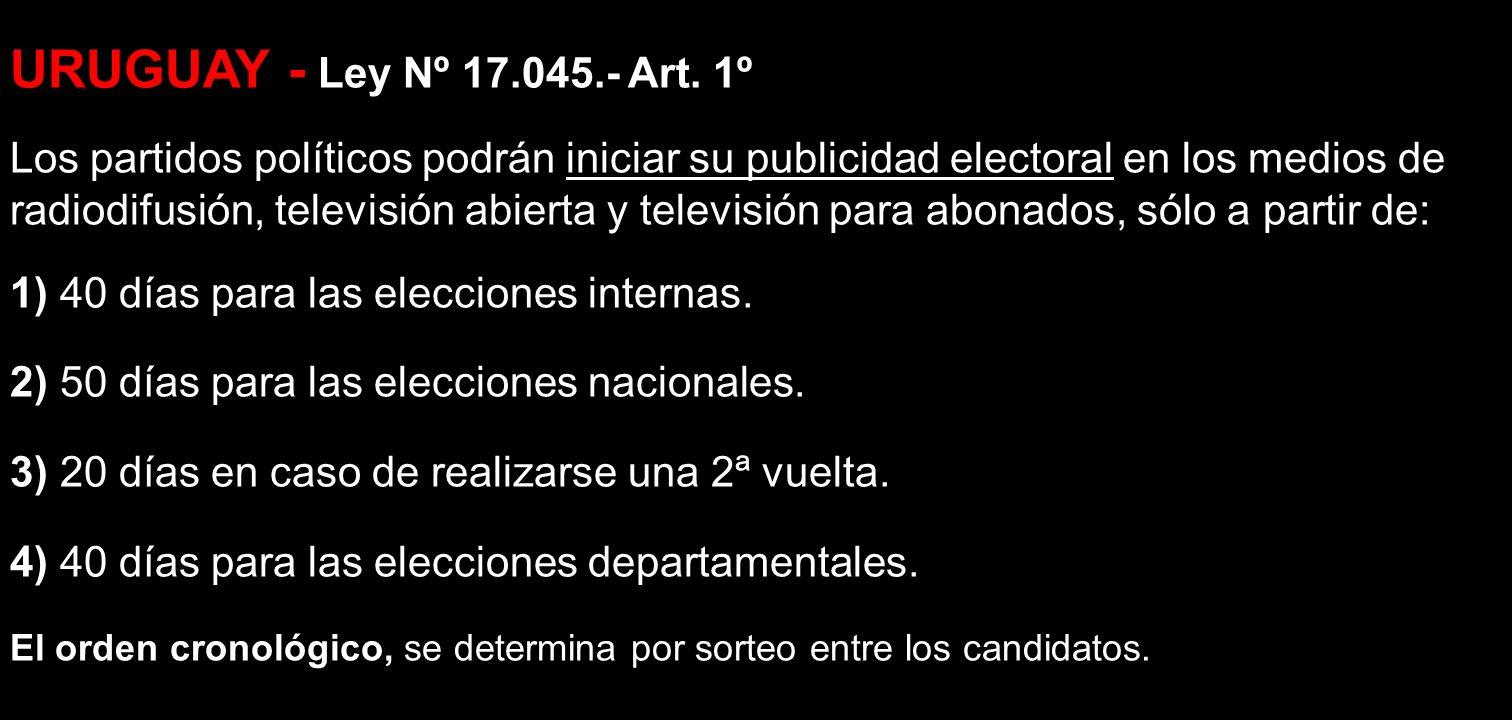URUGUAY - Ley Nº 17.045.- Art. 1º Los partidos políticos podrán iniciar su publicidad electoral en los medios de radiodifusión, televisión abierta y t